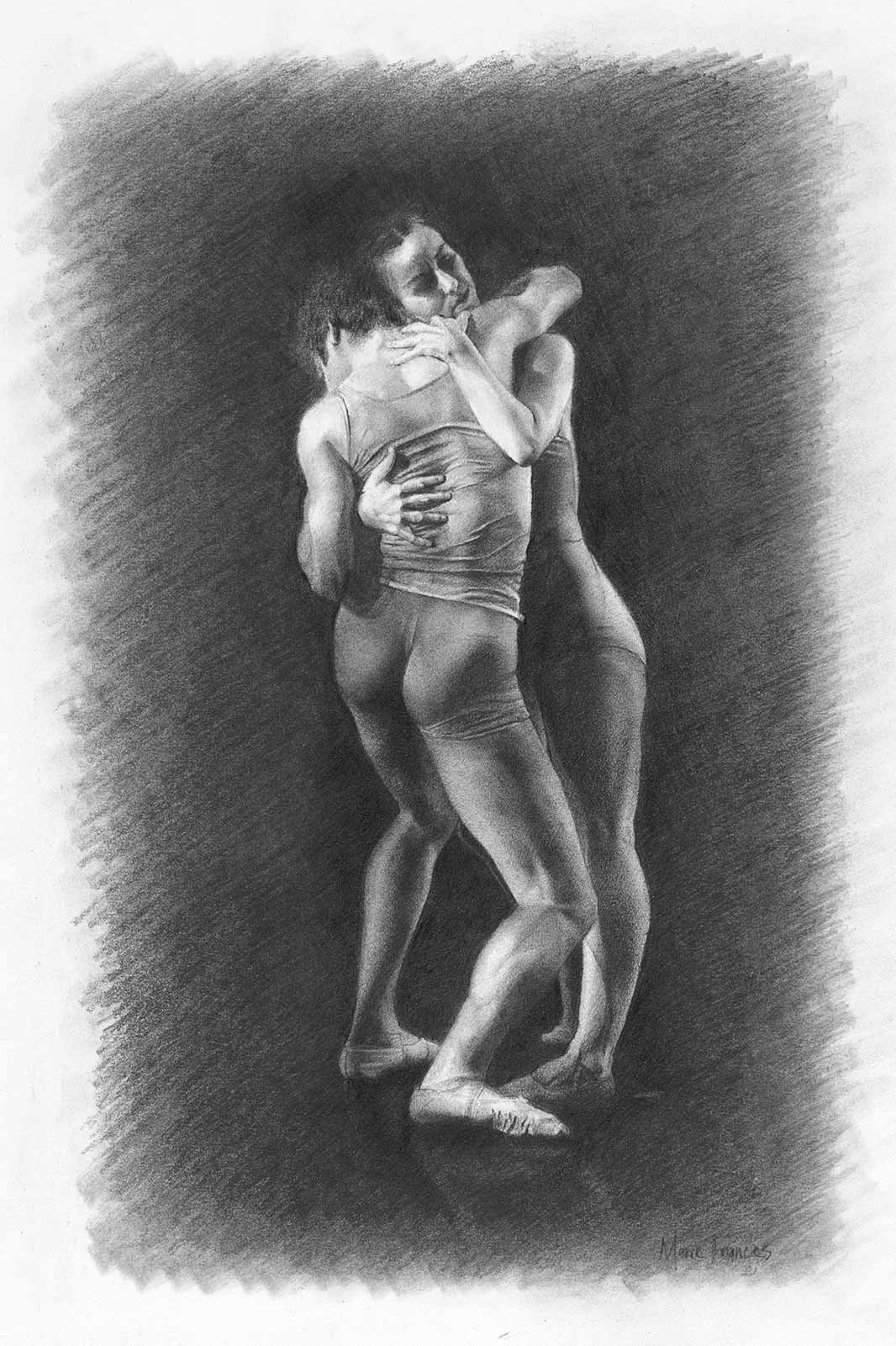 Embrace Graphite Drawing by Marie Frances