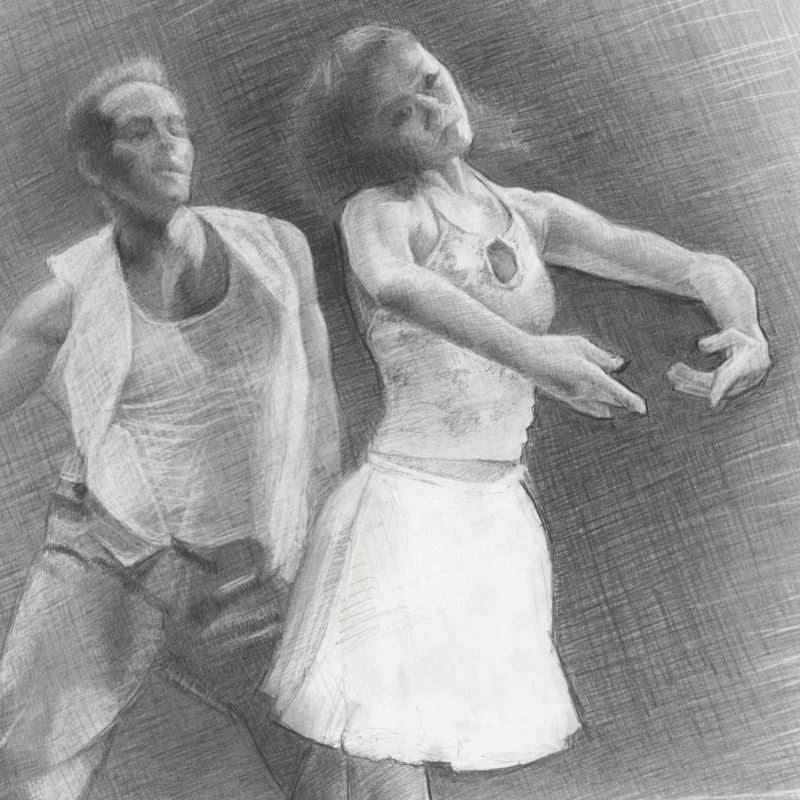 Frolicking Graphite Drawing by Marie Frances