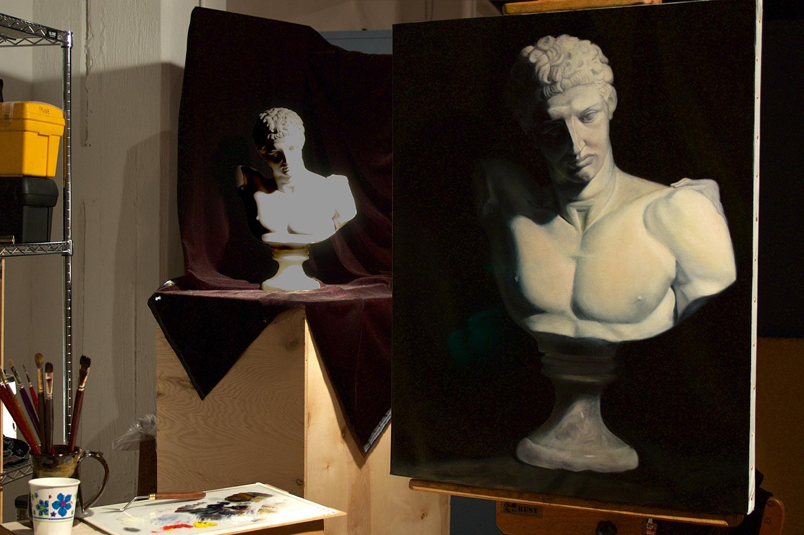 Hermes Oil Painting in Studio by Marie Frances