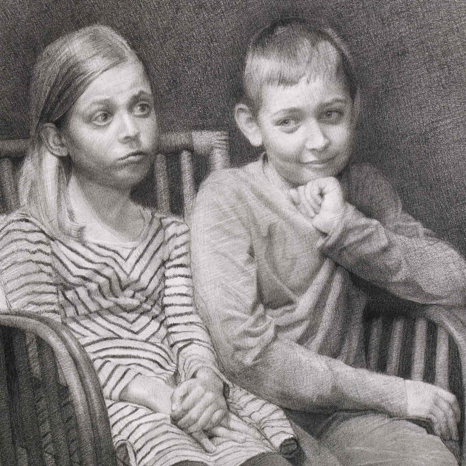 Graphite Portrait of Max and Olivia by Marie Frances