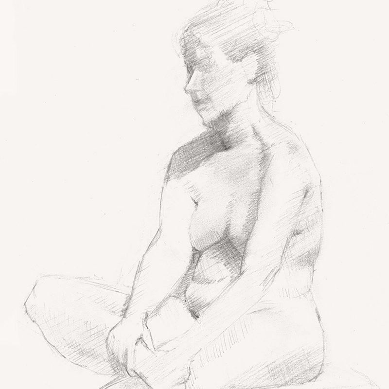 Graphite Figure Study by Marie Frances