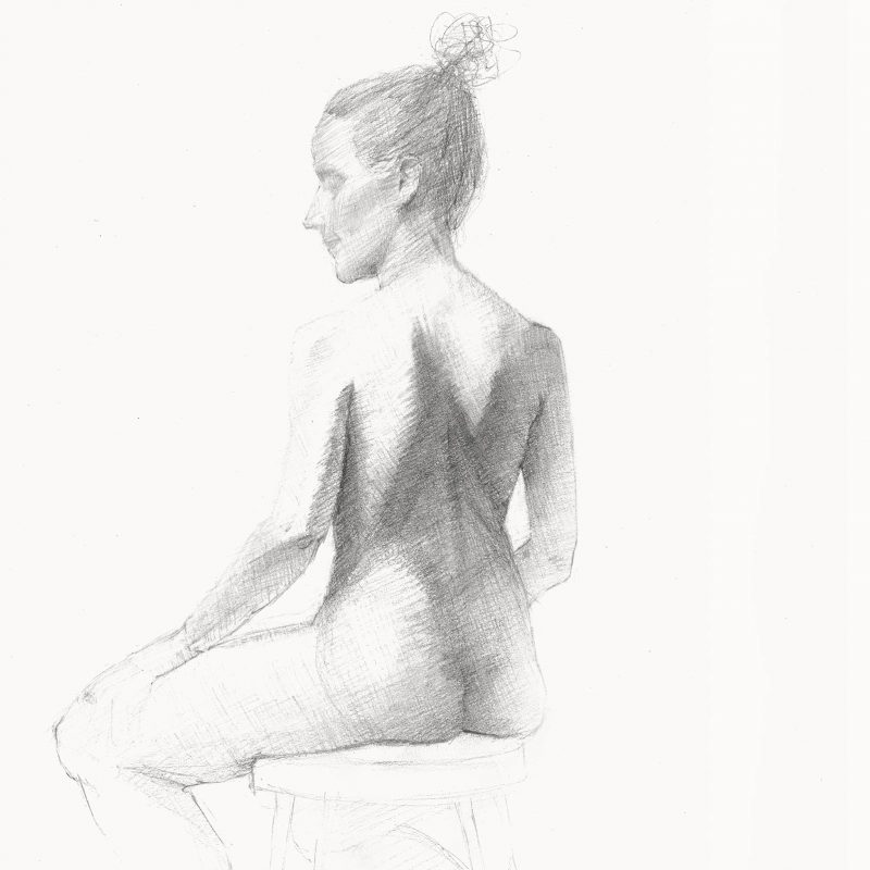 Graphite Figure Drawing by Marie Frances