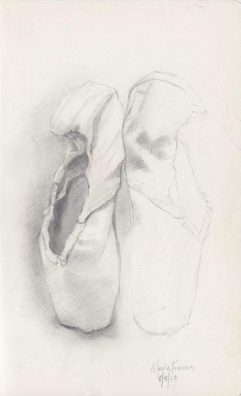 Pointe Shoe Graphite Drawing by Marie Frances