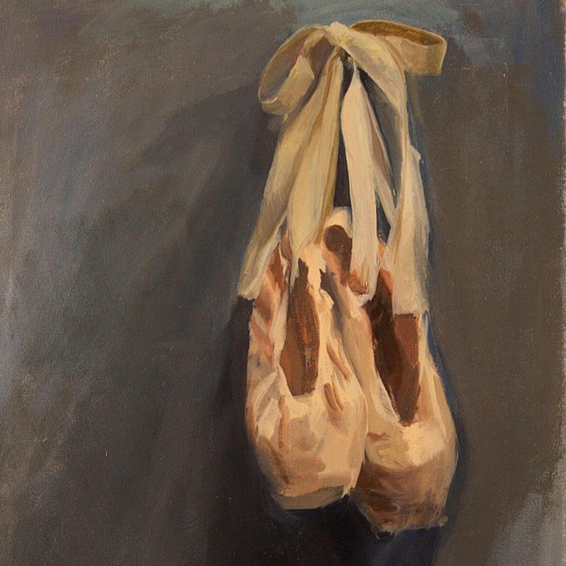Pointe Shoe Oil Painting by Marie Frances