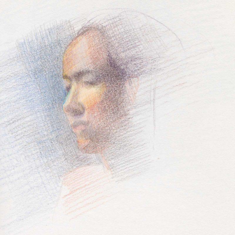 Color Pencil Portrait Study by Marie Frances