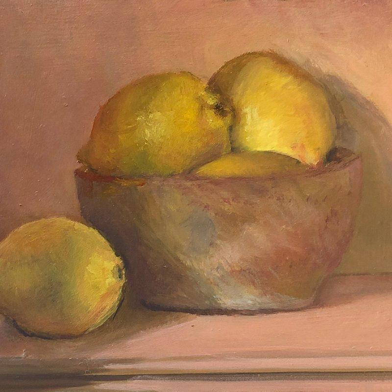 Lemons in Bowl Oil Painting by Marie Frances