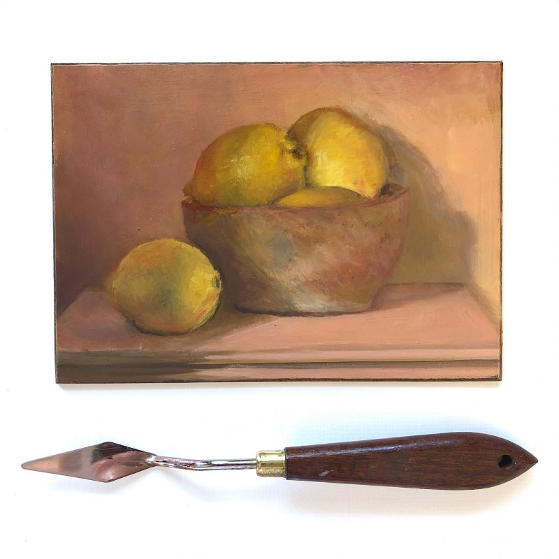 Lemons in Bowl Oil Painting by Marie Frances